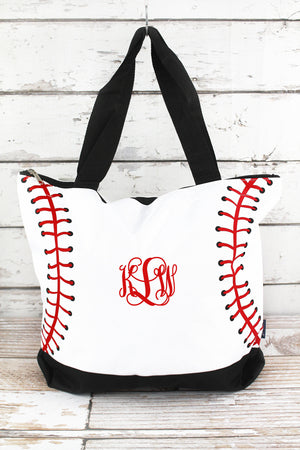 Baseball Laces with Black Trim Tote Bag