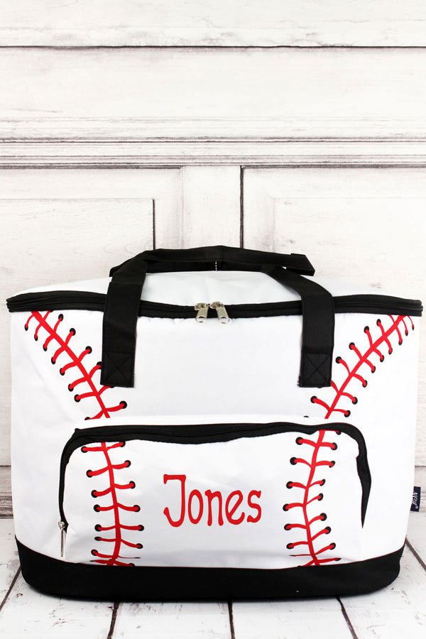 Baseball Laces and Black Cooler Tote with Lid