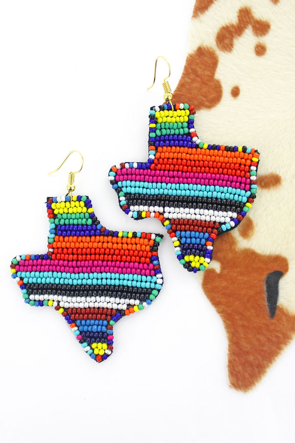 Serape Seed Bead Texas Earrings