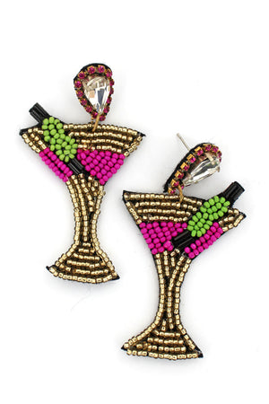 Bejeweled Cocktail Seed Bead Earrings