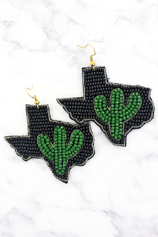 Green Glass Cactus and Black Seed Bead Texas Earrings