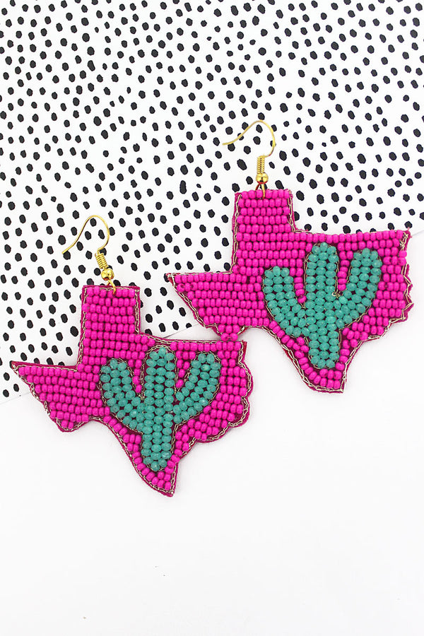 Turquoise Glass Cactus and Pink Seed Bead Texas Earrings