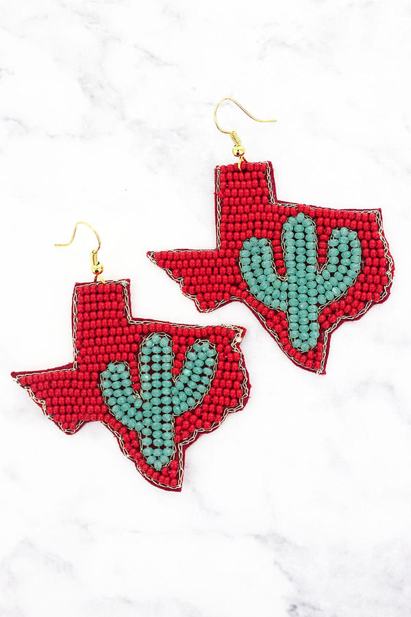 Turquoise Glass Cactus and Red Seed Bead Texas Earrings