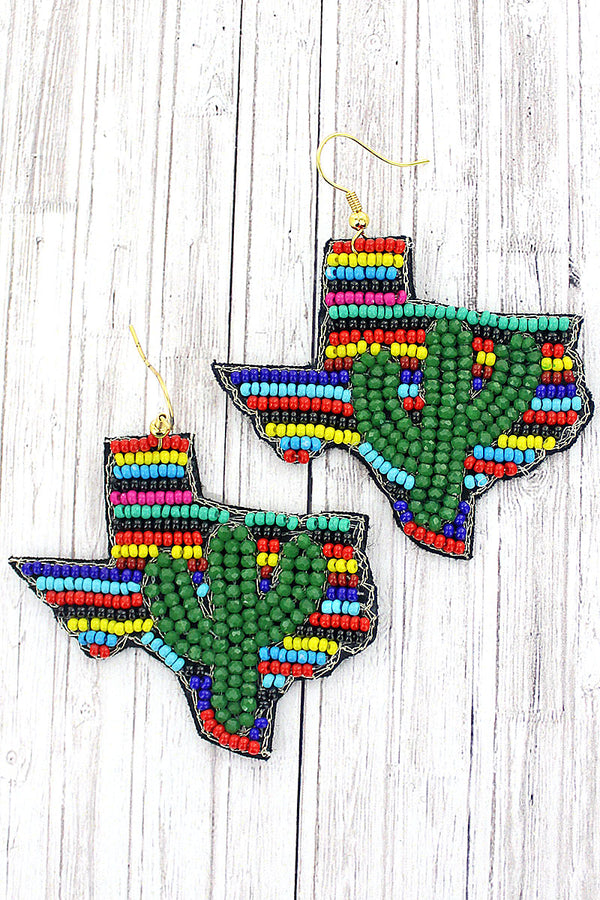 Green Glass Cactus and Multi-Color Stripe Seed Bead Texas Earrings