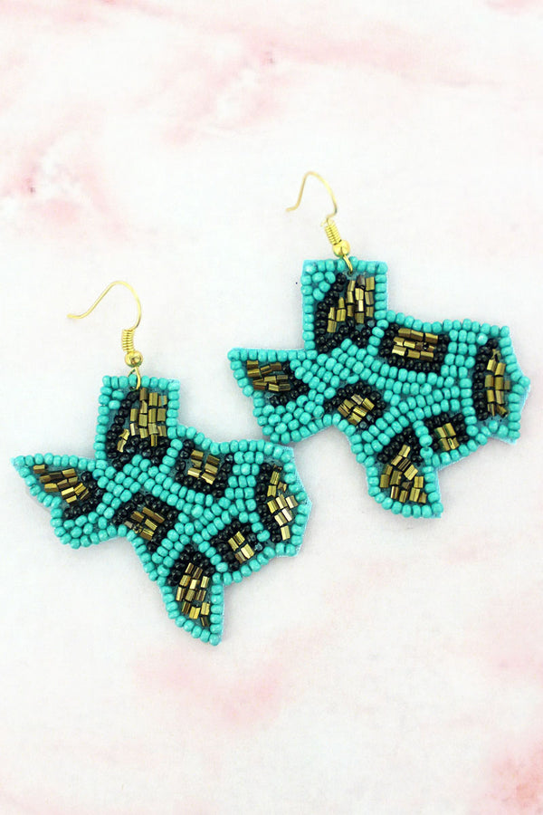 Turquoise Leopard Seed Bead Texas Earrings