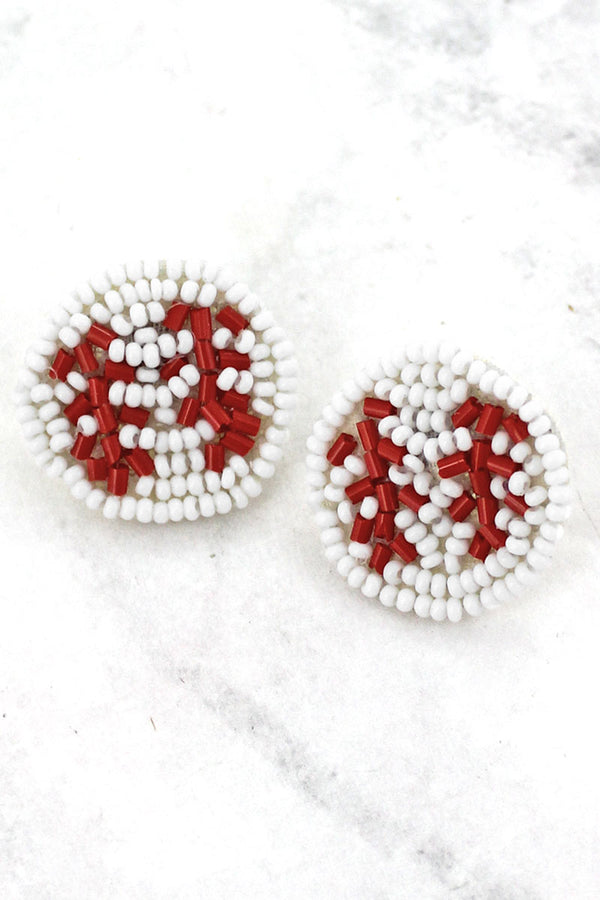 Baseball Seed Bead Stud Earrings