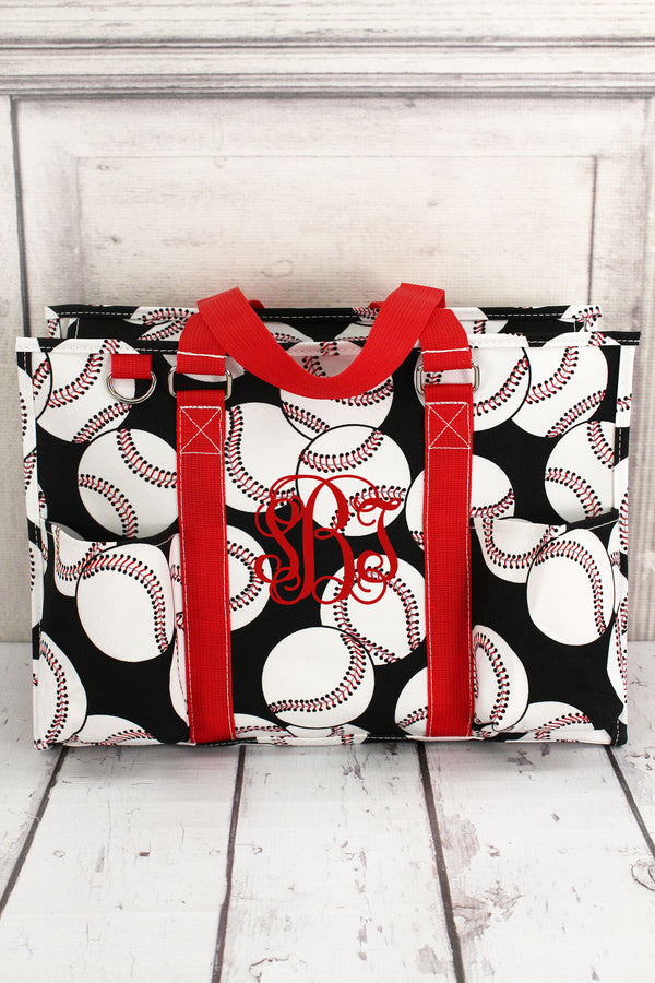 Baseball Utility Tote with Red Trim #SKQ731-RED