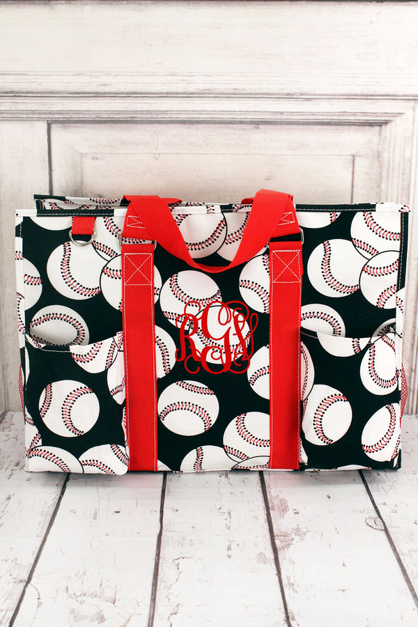 Baseball with Red Trim Large Organizer Tote #SKQ733-RED