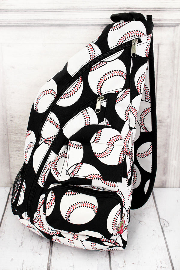 Baseball Sling Backpack #SKQ736-BLACK