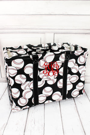 *Baseball Collapsible Double Haul-It-All Basket with Mesh Pockets and Lid #SKQ809-BLACK