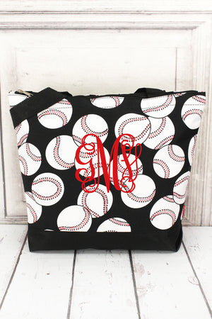 Baseball with Black Trim Tote Bag #SKQ821-BLACK