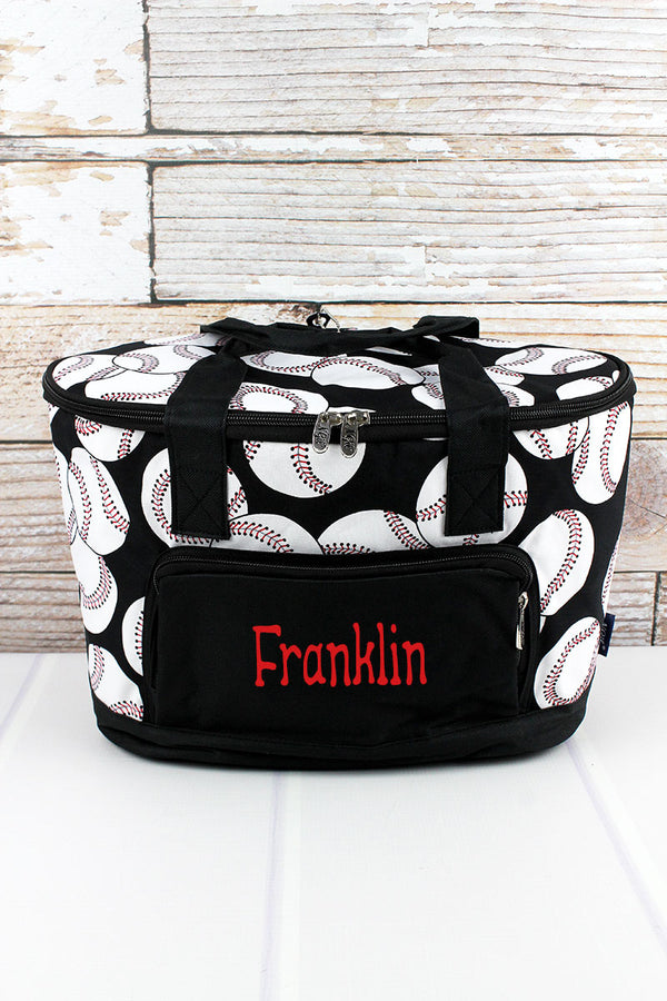 Baseball and Black Mini Cooler Tote with Lid