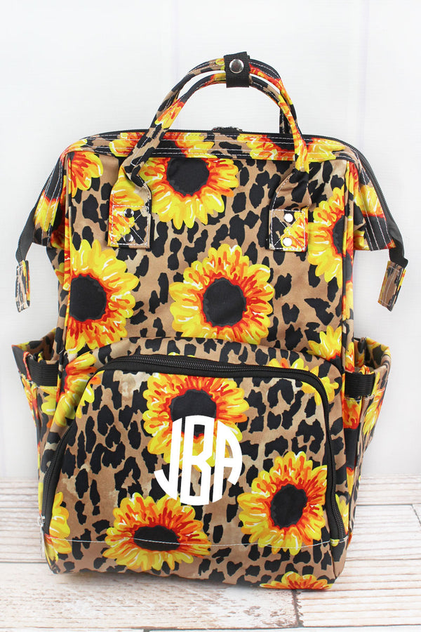 Sunflower Leopard Diaper Bag Backpack
