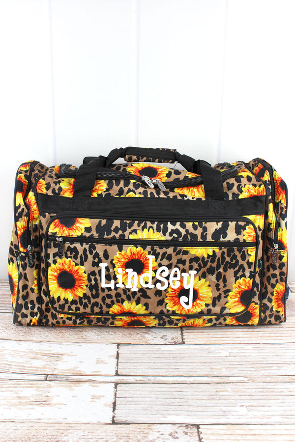 Sunflower Leopard Duffle Bag 23""