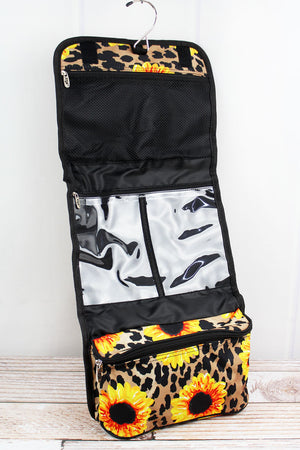Sunflower Leopard Roll Up Cosmetic Bag