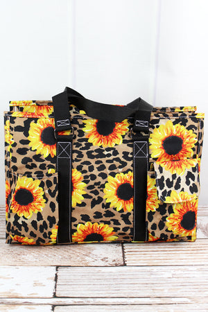Sunflower Leopard Utility Tote with Black Trim