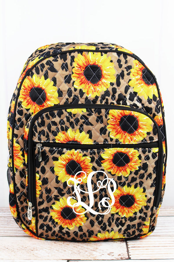 Sunflower Leopard Quilted Oversized Backpack