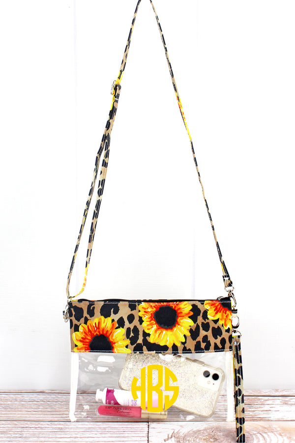 Sunflower Leopard Clear Crossbody Bag