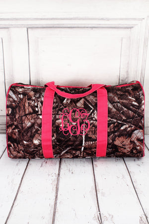 "BNB Natural Camo Quilted Duffle Bag with Hot Pink Trim 21"" #SNQ2626-H/PINK"