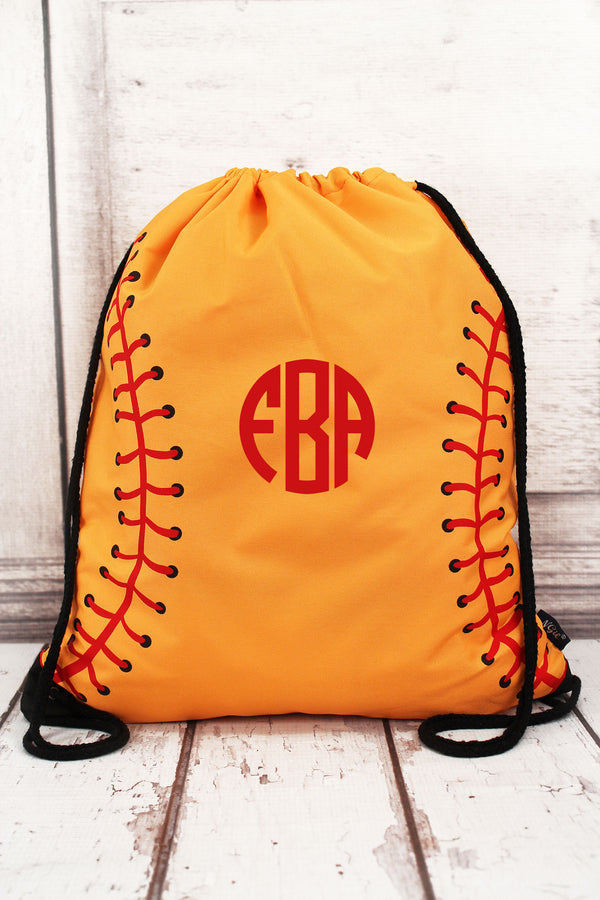 Softball Laces Drawstring Backpack