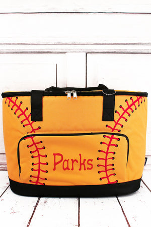 Softball Laces and Black Cooler Tote with Lid