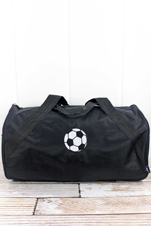Embroidered Soccer Black Barrel Duffle Bag 18""