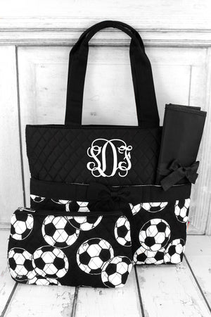 *Soccer Quilted Diaper Bag with Black Trim