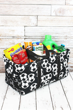 Soccer Collapsible Haul-It-All Basket with Mesh Pockets