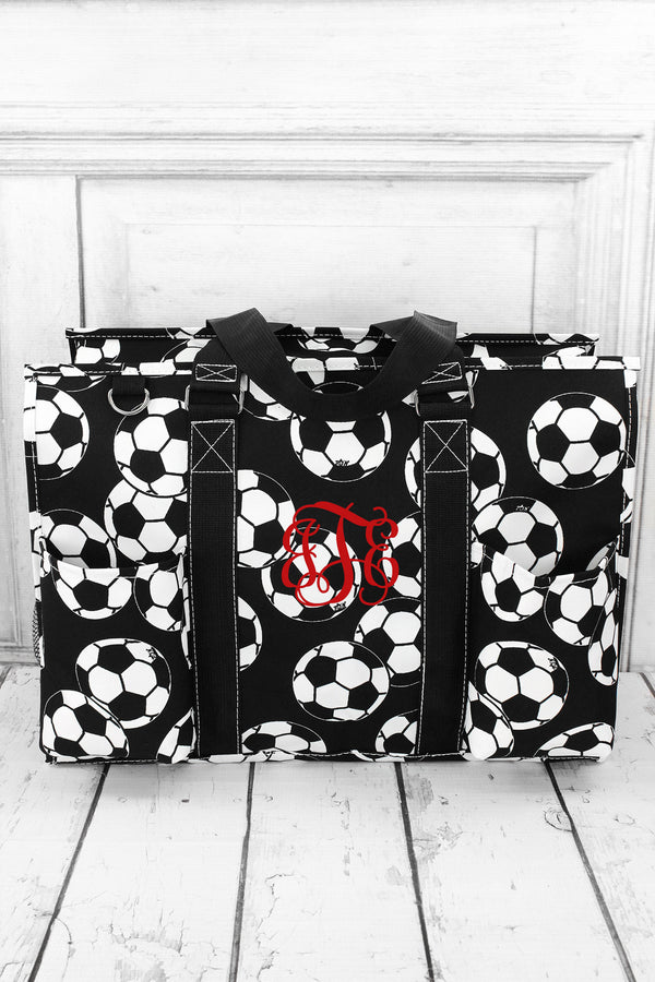 Soccer with Black Trim Large Organizer Tote