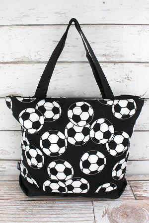 Soccer with Black Trim Tote Bag