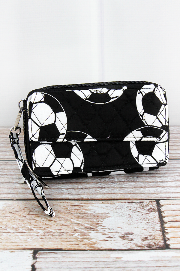 Soccer Quilted Crossbody Organizer Clutch