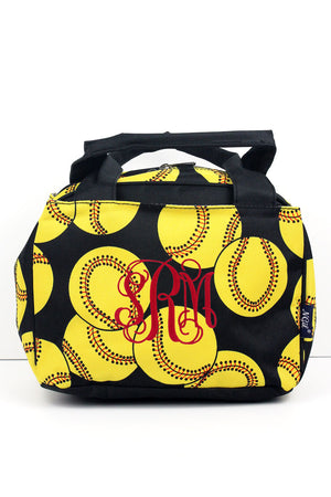 Softball Insulated Bowler Style Lunch Bag #SOF255-BLACK