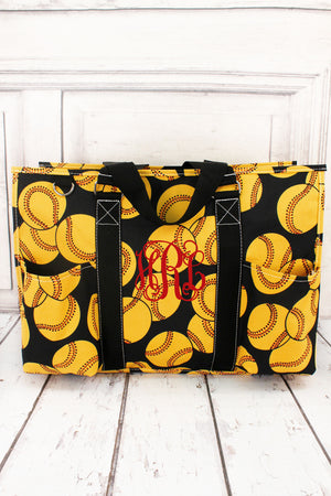 Softball with Black Trim Large Organizer Tote #SOF733-BLACK