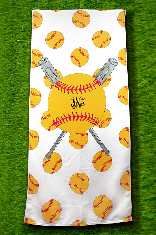 PRE-ORDER* Softball White Beach Towel **EXPECTED SHIP DATE 3/10**