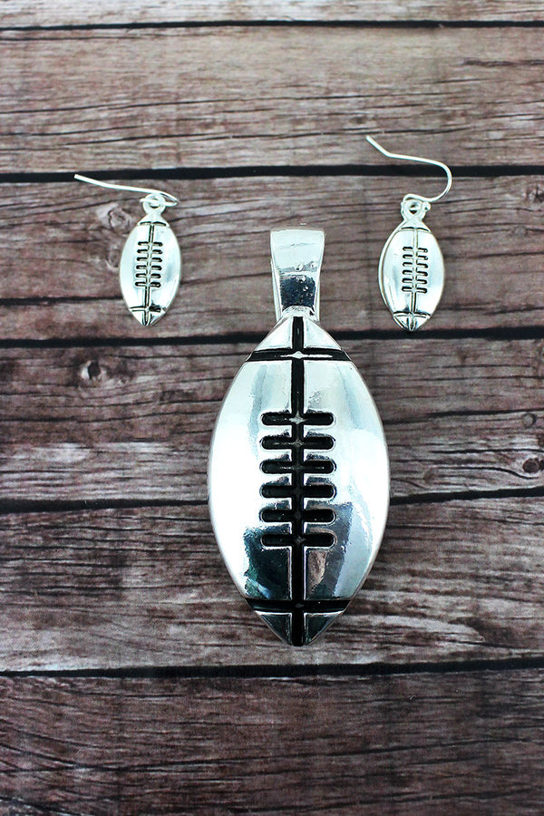 Silvertone Football Pendant and Earrings Set