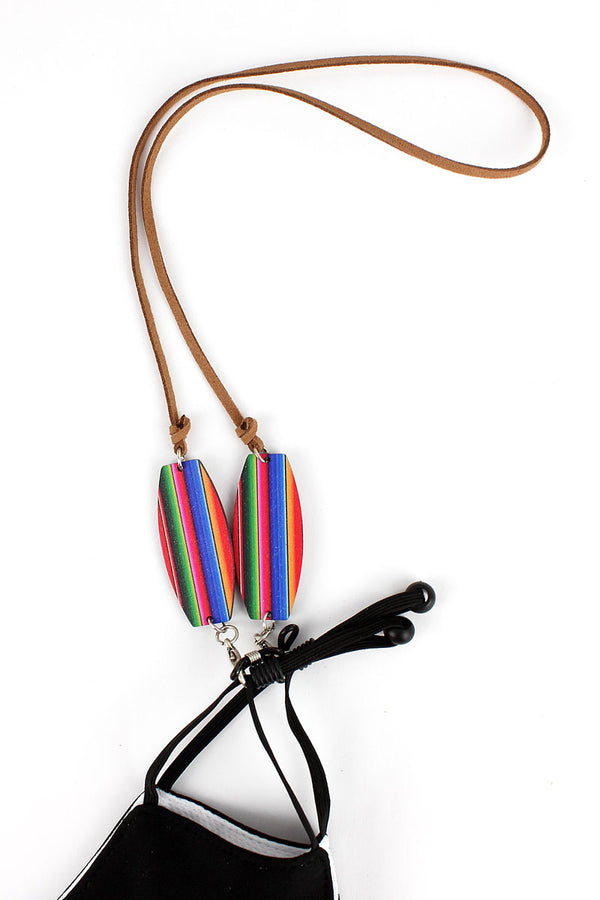 Serape Wood Accented Cord Face Mask/Eyeglasses Holder