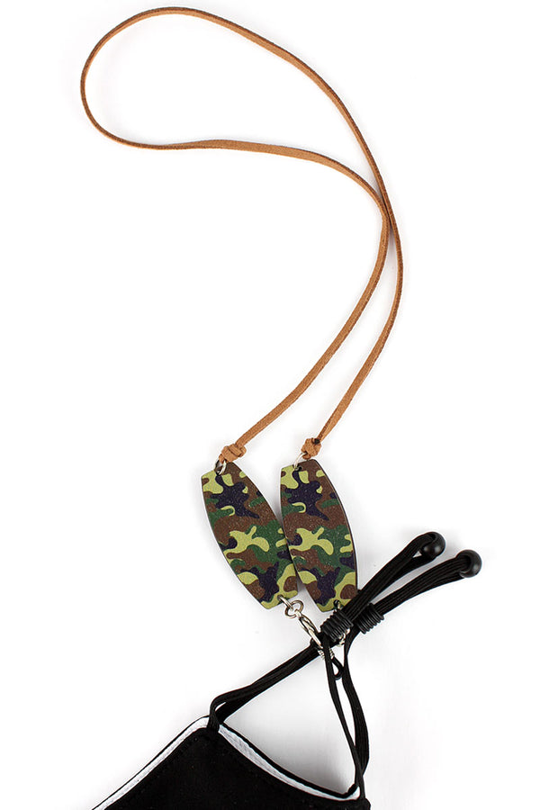 Jungle Camo Wood Accented Cord Face Mask/Eyeglasses Holder