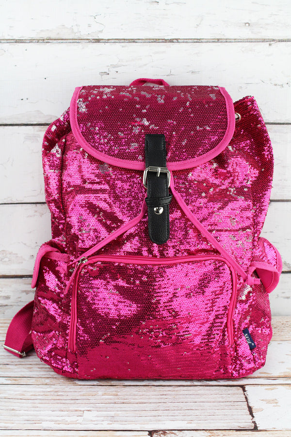 Hot Pink and Silver Mermaid Sequin Large Drawstring Backpack
