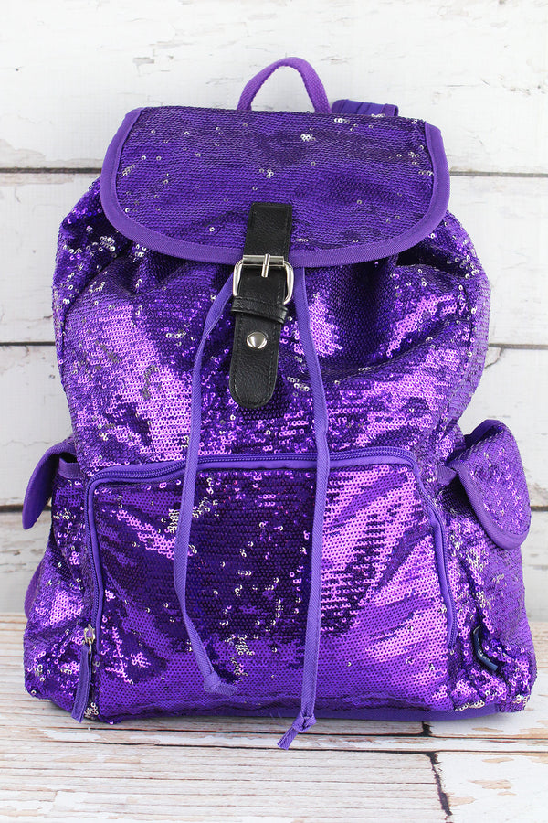 Purple and Silver Mermaid Sequin Large Drawstring Backpack