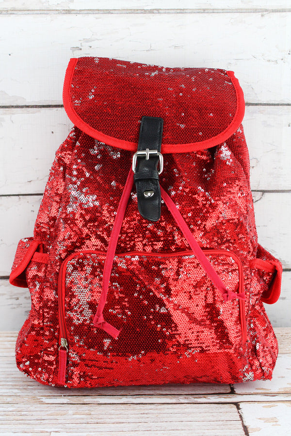 Red and Silver Mermaid Sequin Large Drawstring Backpack