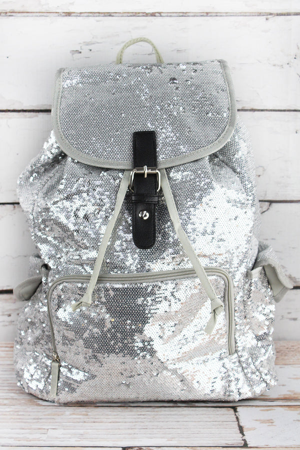 Silver Mermaid Sequin Large Drawstring Backpack