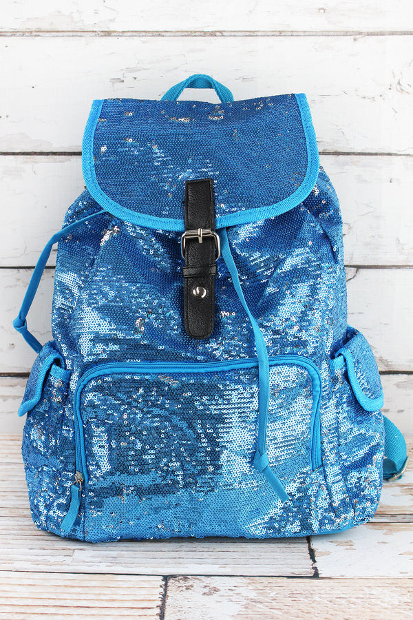 Turquoise and Silver Mermaid Sequin Large Drawstring Backpack