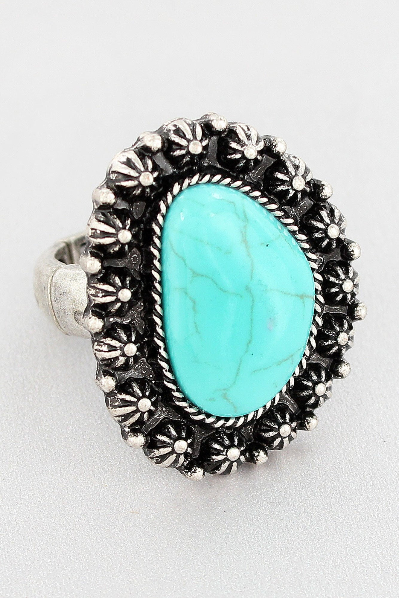 Western Burnished Silvertone and Turquoise Stone Ring #SR0033-SBTQ ...