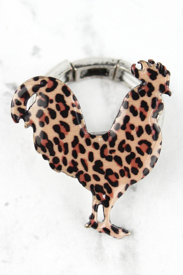 Leopard Print Rooster Silvertone Ring