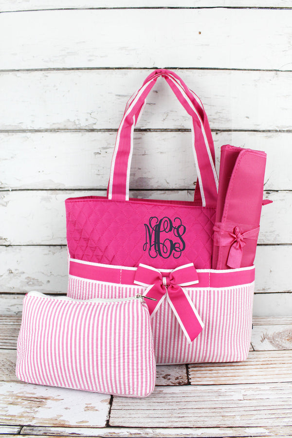 Pink Striped Seersucker Quilted Diaper Bag