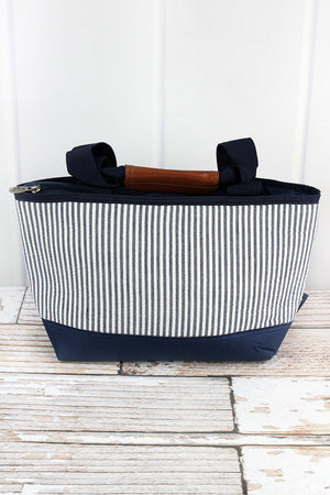 Navy Striped Seersucker Insulated Lunch Bag