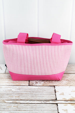 Pink Striped Seersucker Insulated Lunch Bag