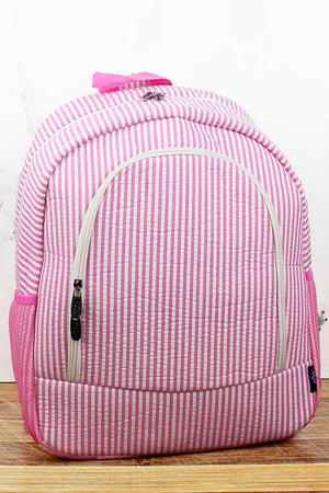 Pink Striped Seersucker Large Backpack