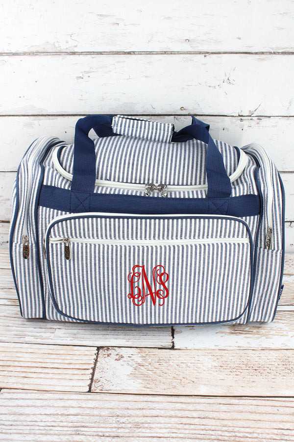 Navy Striped Seersucker Duffle Bag 20""