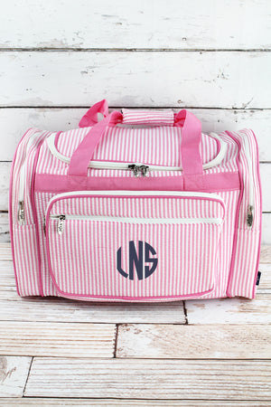 Pink Striped Seersucker Duffle Bag 20""